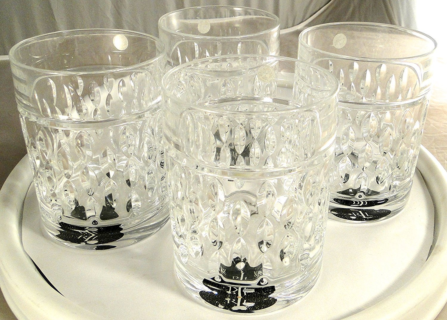 Ralph Lauren Aston Double Old Fashioned Cocktail Glasses German Lead Crystal Set of 4