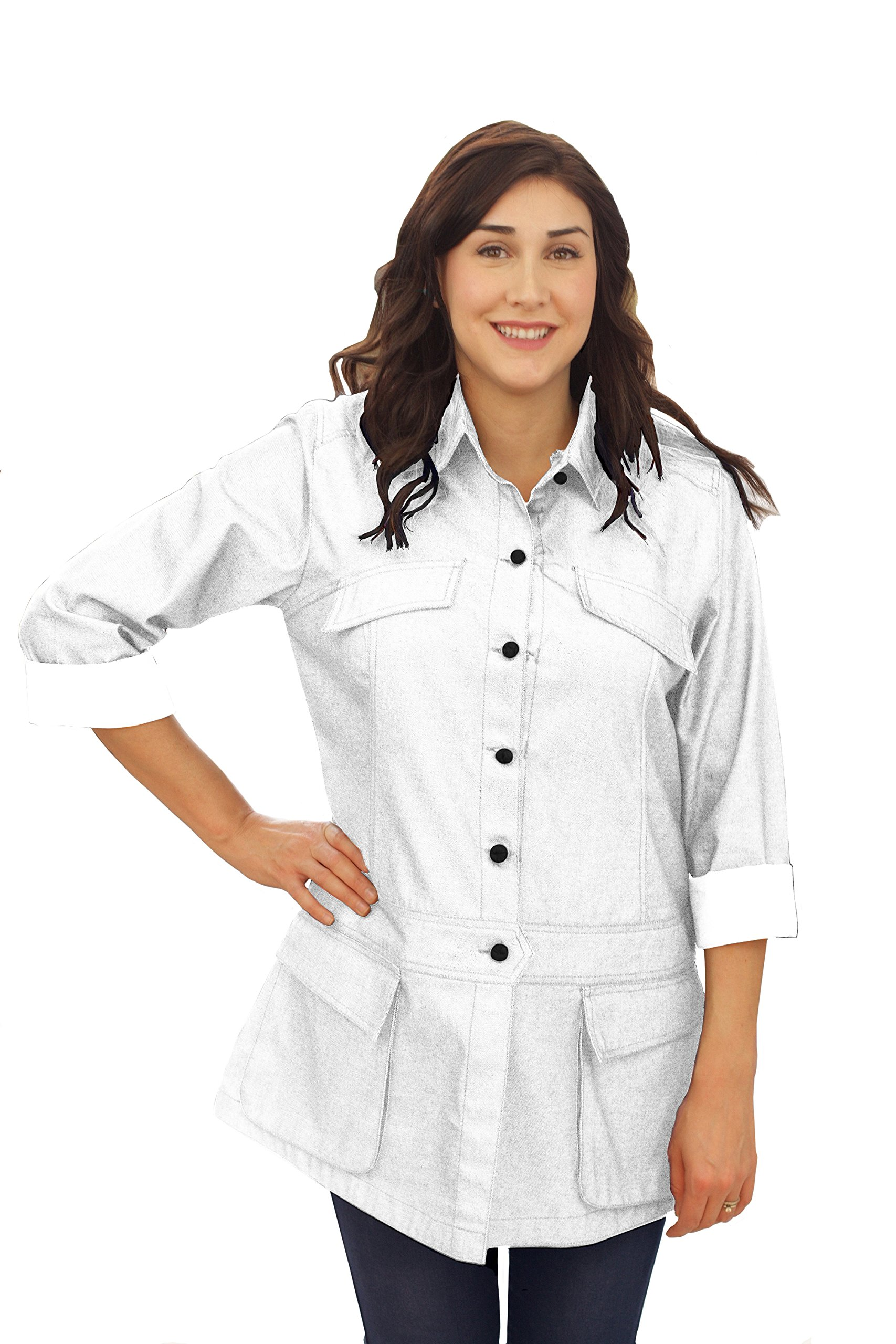 ASD Living Stylized White Denim Long Sleeve Chef Coat,Medium