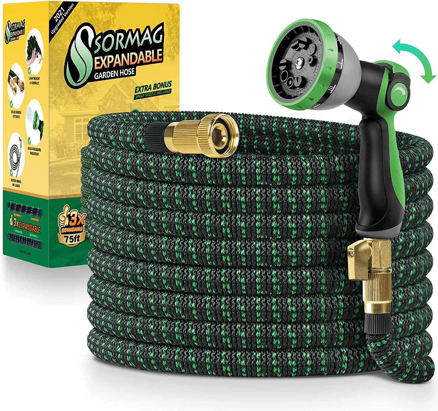SORMAG Expandable Garden Hose 75ft, Flexible Expanding Water Hose, Leakproof No Kink Lightweight Hoses with 10 Function Nozzle, Durable Collapsible Outdoor Watering Hose for Yard Lawn
