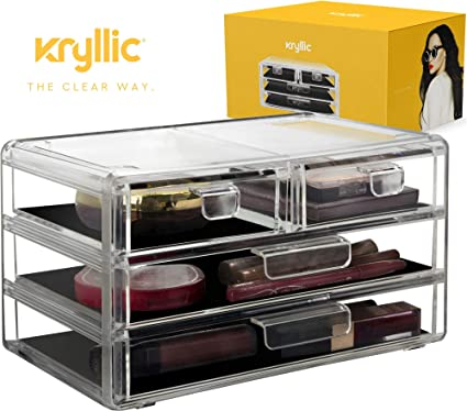 Acrylic Cosmetic Storage Drawer Organizer - Clear case Vanity or Bathroom countertop Make up Organizer with