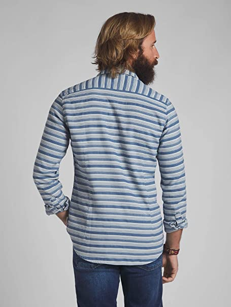 SILBON - Camisa Sport Rayas Fantasia Azul Claro para Hombre ...