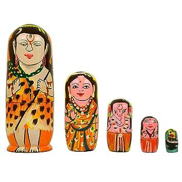 Fine Craft India Set Of 5Piece Hand Paint Religious Shiva Family