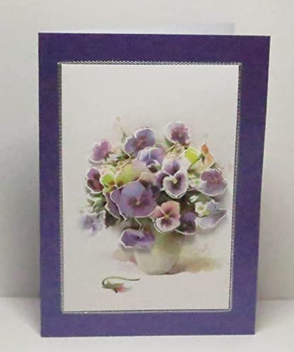 Amazon handmade 3d purple pansies bouquet in vase blank handmade 3d purple pansies bouquet in vase blank greeting card with silver border on purple m4hsunfo