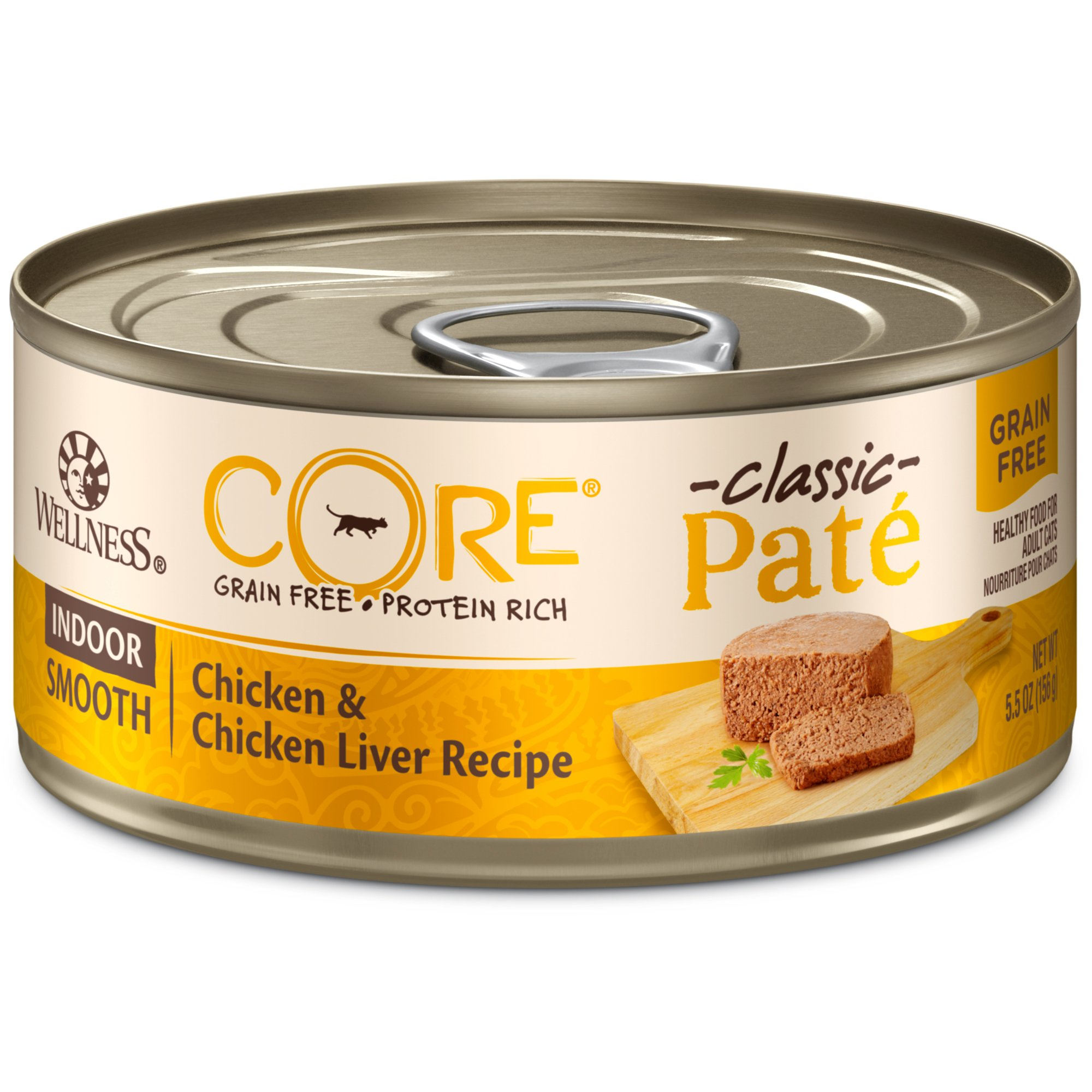 Wellness CORE Natural Grain Free Wet Canned Cat Food, Indoor Recipe, 5.5-Ounce Can (Pack of 24) by WELLNESS CORE