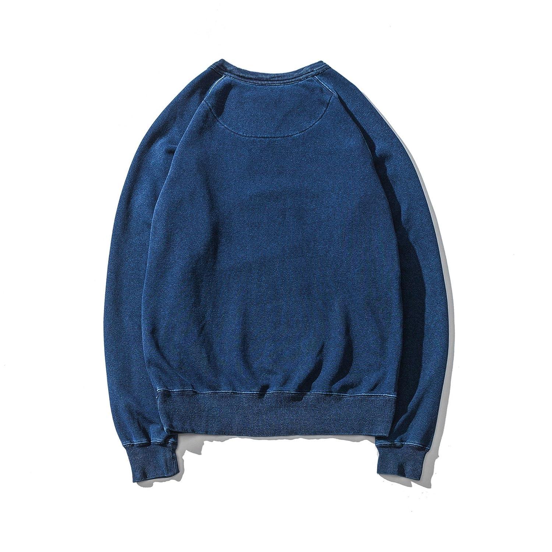 F.P Mens Retro Long Sleeves Pullover 100/% Cotton Crewneck T-Shirt Indigo Dyed Undershirts