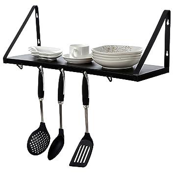 Montado en la pared para colgar cocina estante de almacenamiento w/5 ganchos para utensilios de cocina, ollas y sartenes, color negro: Amazon.es: Hogar