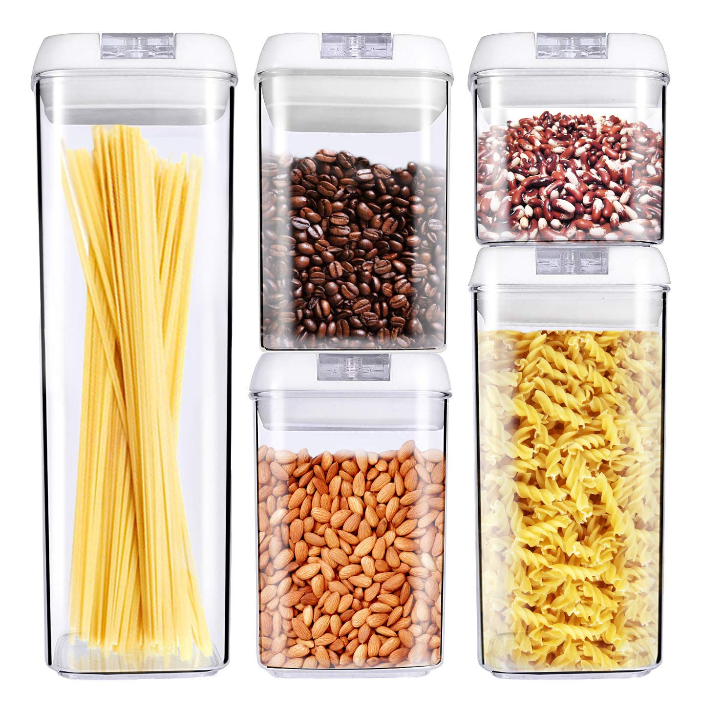 George Olivier Stackable Food Storage Containers with Airtight Lids, Set of 5 - BPA Free & Food Grade Plastic - Spaghetti & Cereal Dispenser