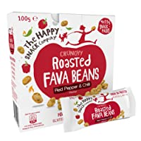 The Happy Snack Company Roasted Fava Beans, Red Pepper and Chilli Flavour Healthy Snacks, High Protein, Gluten Free Tasty Snacks, Vegan, 105 Calories, 25g Portion, Pack of 20.