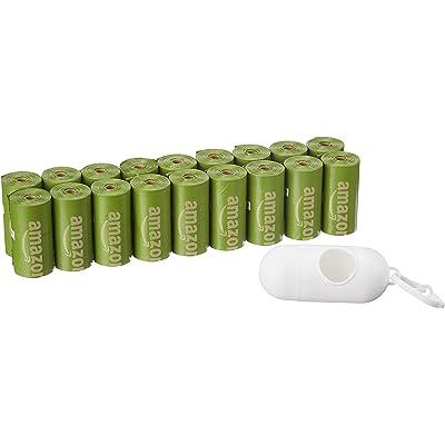 AmazonBasics - Bolsa mejorada para heces de perro con aditivos EPI y dispensador y pinza para correa - 270 unidades, mango brasileño