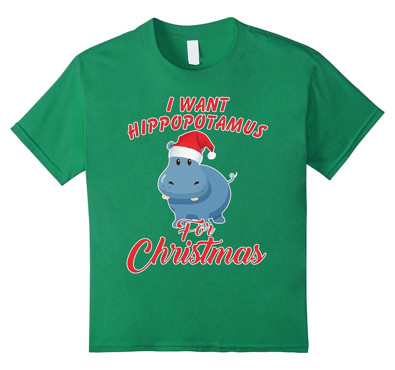 Hippopotamus Christmas Hippo T Shirt Slate-Awarplus
