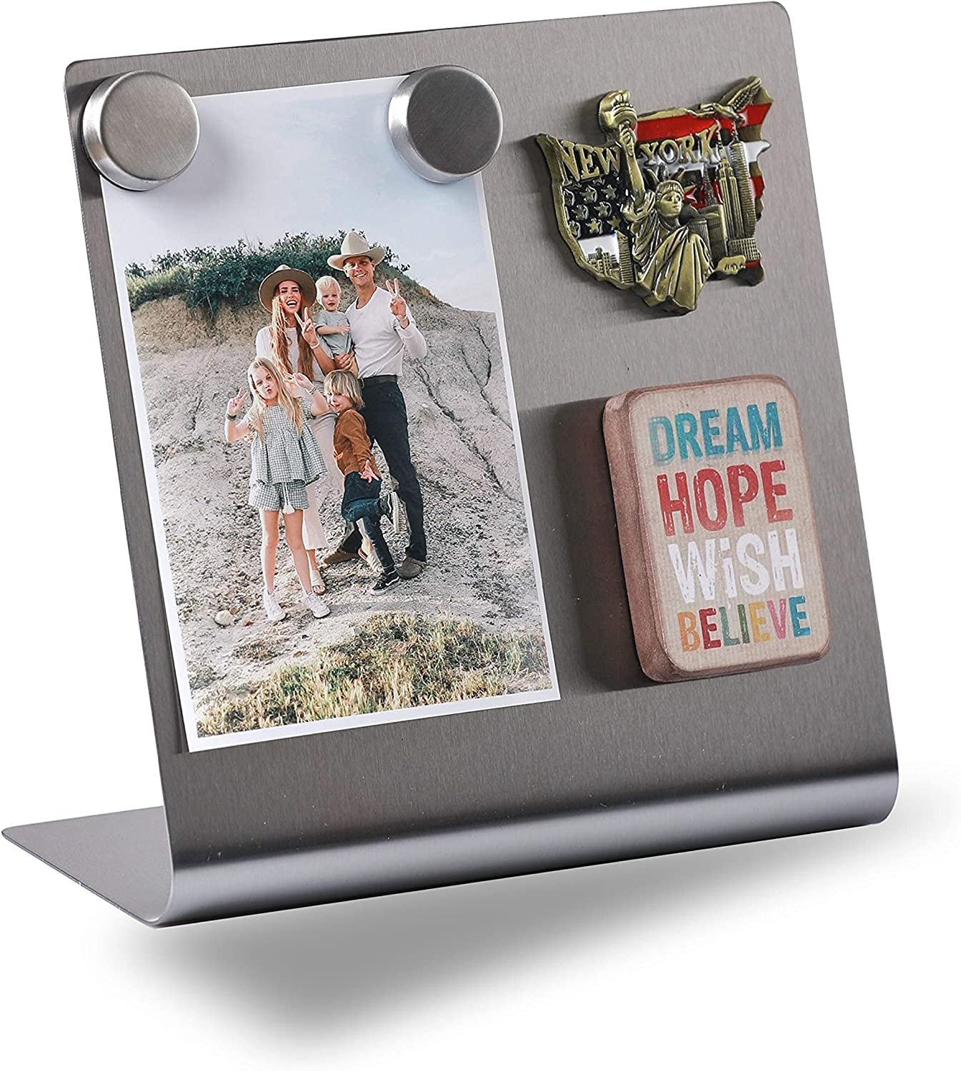 Magnetic Bulletin Board with Stand – Small Dry Erase Memo Board – Tabletop Metal Easel for Magnet Display – Mini Home Decor – 8x8 Inches + 2 Magnets