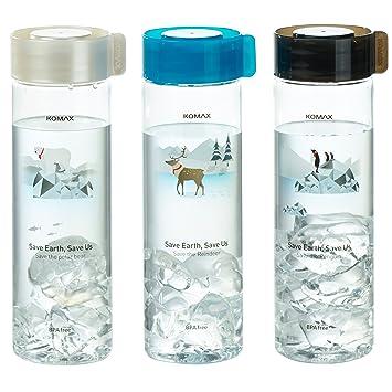 Komax - Juego de 3 botellas de agua y zumo, ligeras y portátiles, tamaño