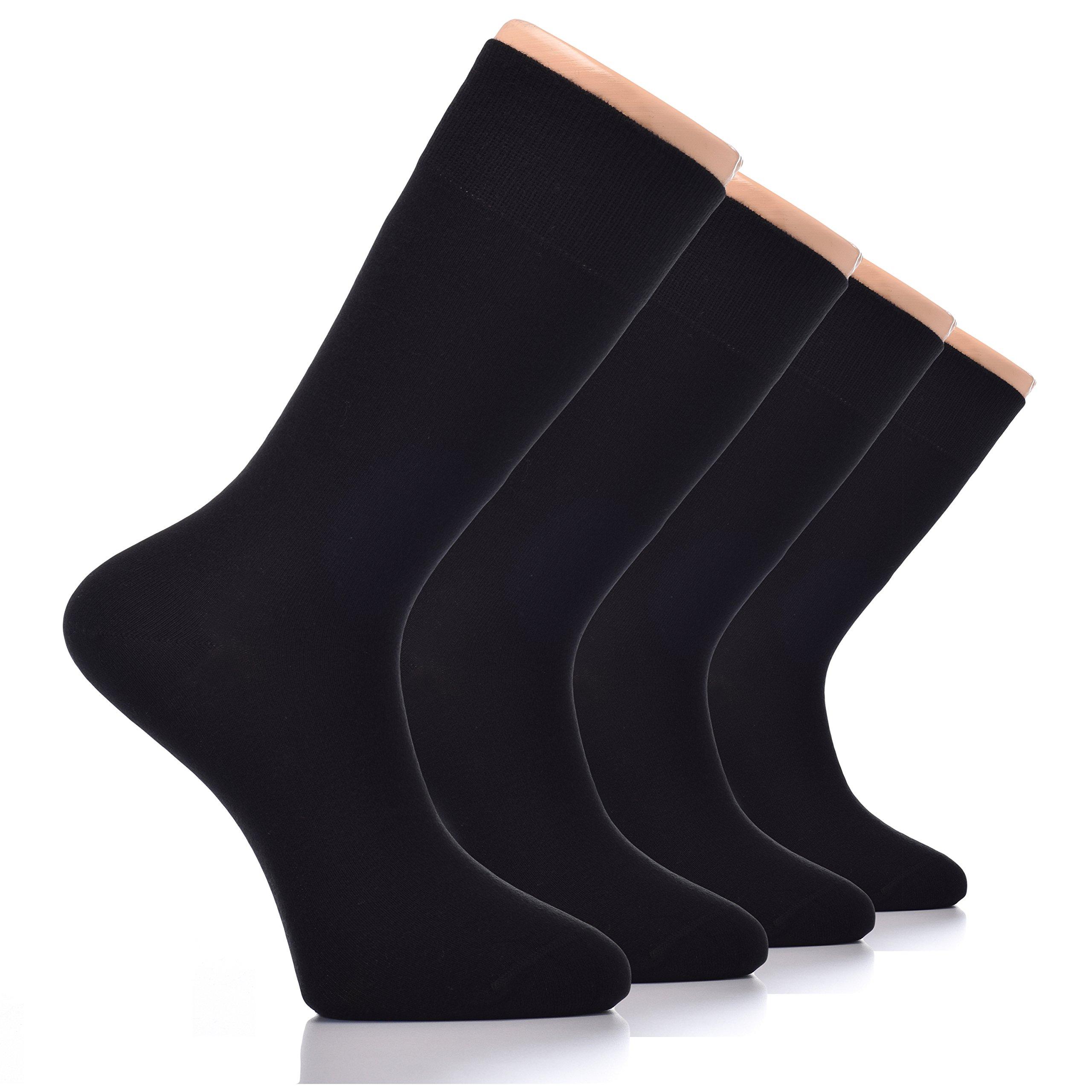 HUGH UGOLI Men's Dress Crew Socks Seamless BAMBOO Business Casual 4 Pairs(Black)
