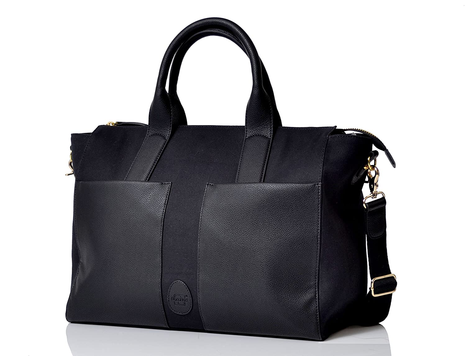 4e3178798452 PacaPod Croyde Black Designer Baby Changing Bag - Luxury Canvas and Faux  Leather Tote 4 in 1 Organising System  Amazon.co.uk  Baby
