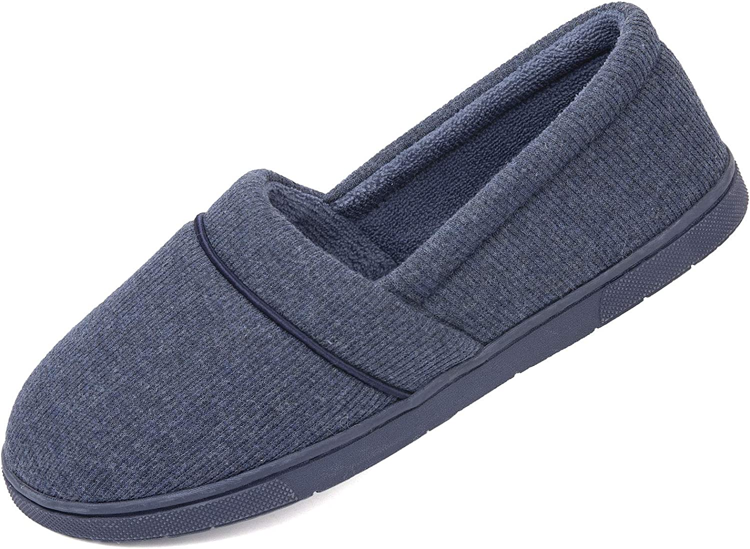 ULTRAIDEAS Women's Comfy Memory Foam Cotton Knit Slippers, Ladies' Plush Terry Lining Loafer Lightweight House Shoes with Indoor Outdoor Anti-Skid Rubber Sole