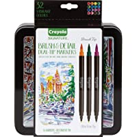 Crayola 58-6501 Brush Markers, calligraphy, Dual-Tip with Ultra Fine Marker, Assorted Colors, Decorative Storage Case…