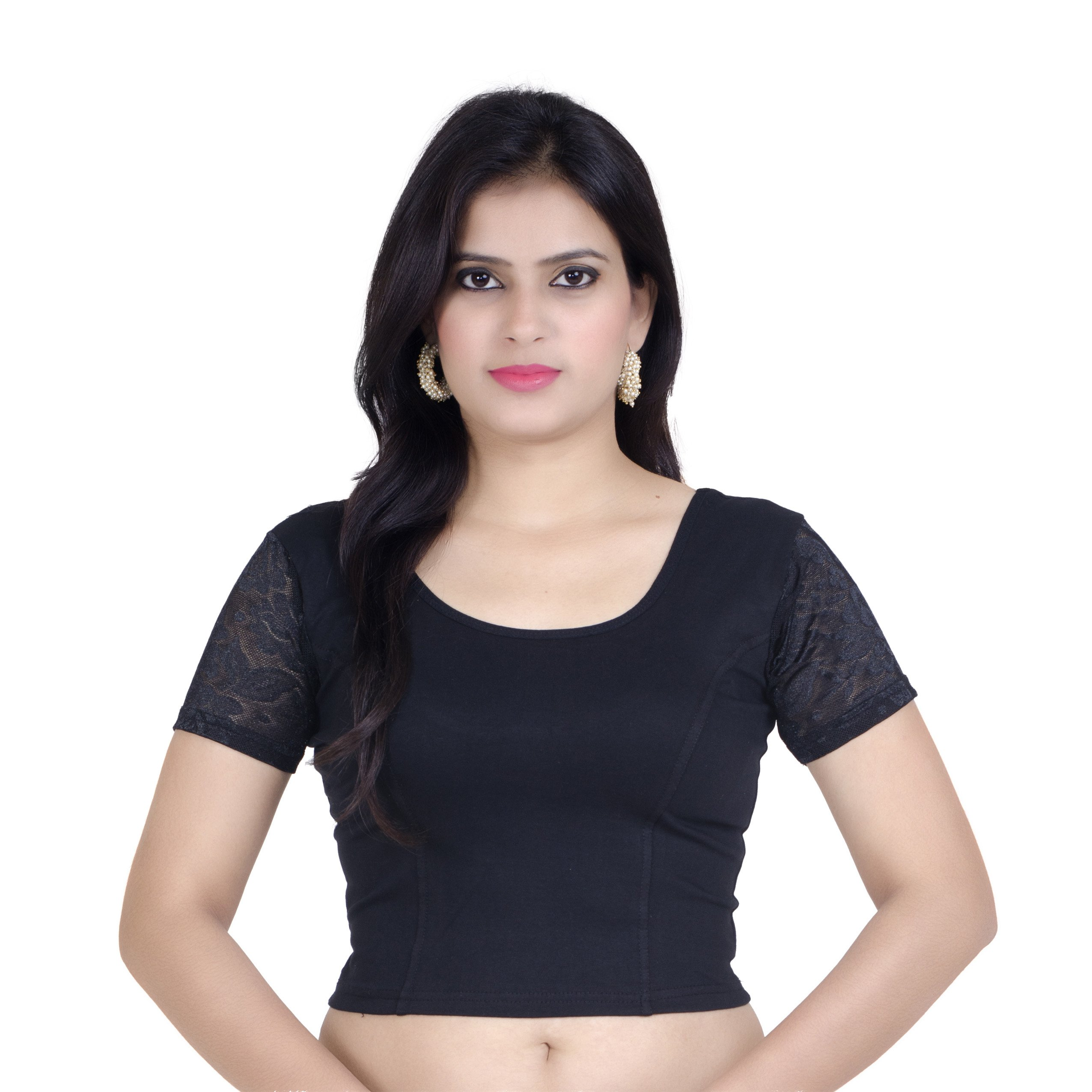 Chandrakala Womens Stretchable Readymade Black Saree Blouse Crop Top Choli,Black,Free Size