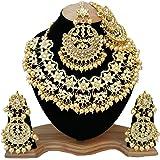 Finekraft Meena Kundan Gold Plated Pearl Necklace Set for Women