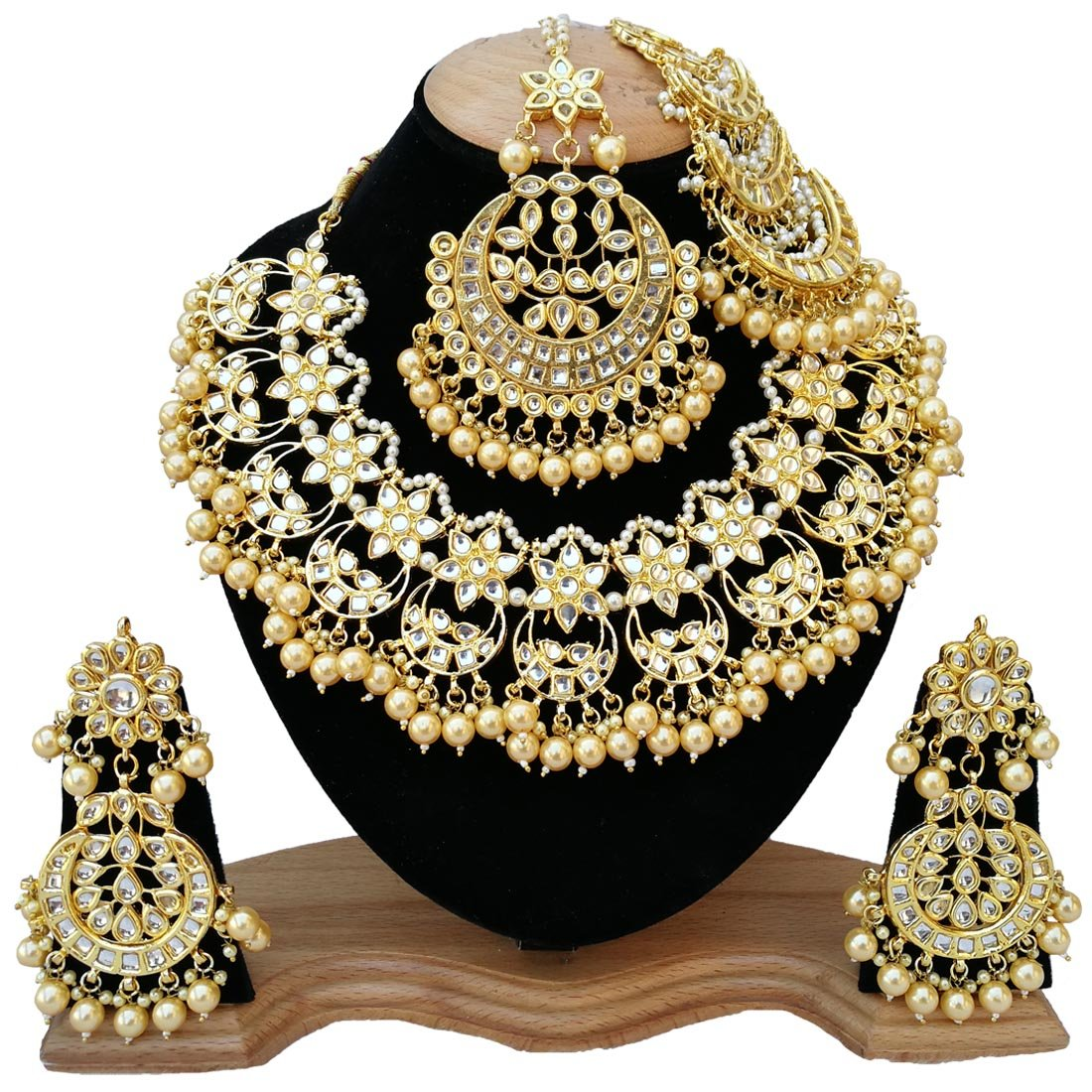 Finekraft Meena Kundan Bridal Wedding Designer Gold Plated Gold Color Necklace Jewelry Set