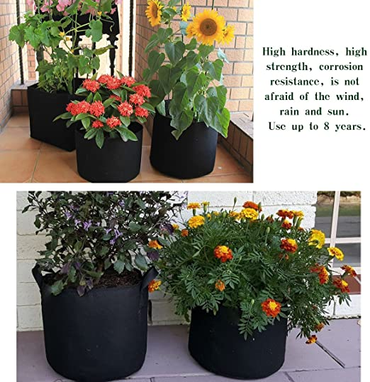 Ndier 5pcs Bolsa de cultivo de plantas - Tiestos de tela con ...