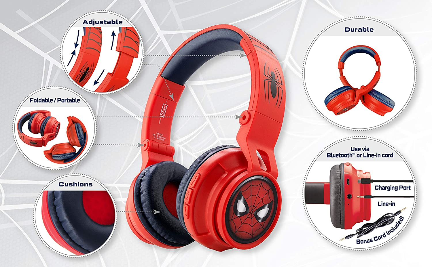 Amazon Com Ekids Spiderman Wireless Bluetooth Portable Kids Headphones With Microphone Volume Reduced To Protect Hearing Rechargeable Battery Adjustable Kids Headband For School Home Or Travel Toys Games
