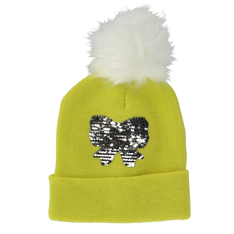 Alexa Rose Girls Sequins Cuff Beanie Hat with Pom