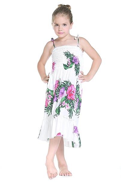 Niña Elástico Ruffle Hawaiian Luau vestido en Blanco Floral 2T