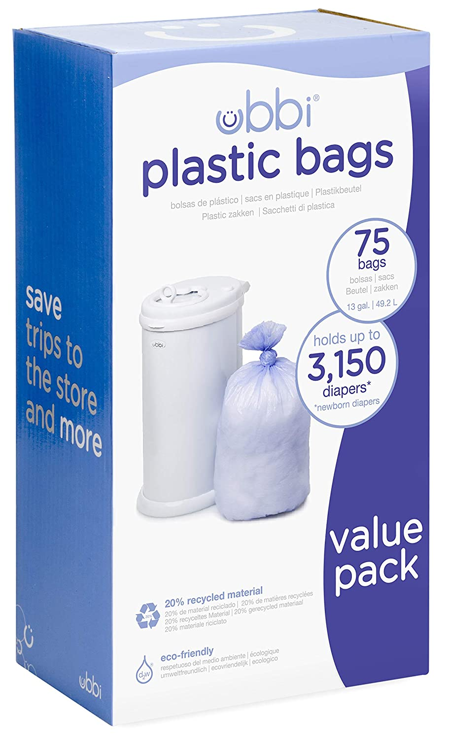 Ubbi Disposable Diaper Pail Plastic Bags, Made with Recyclable Material, True Value Pack, 75 Count,...