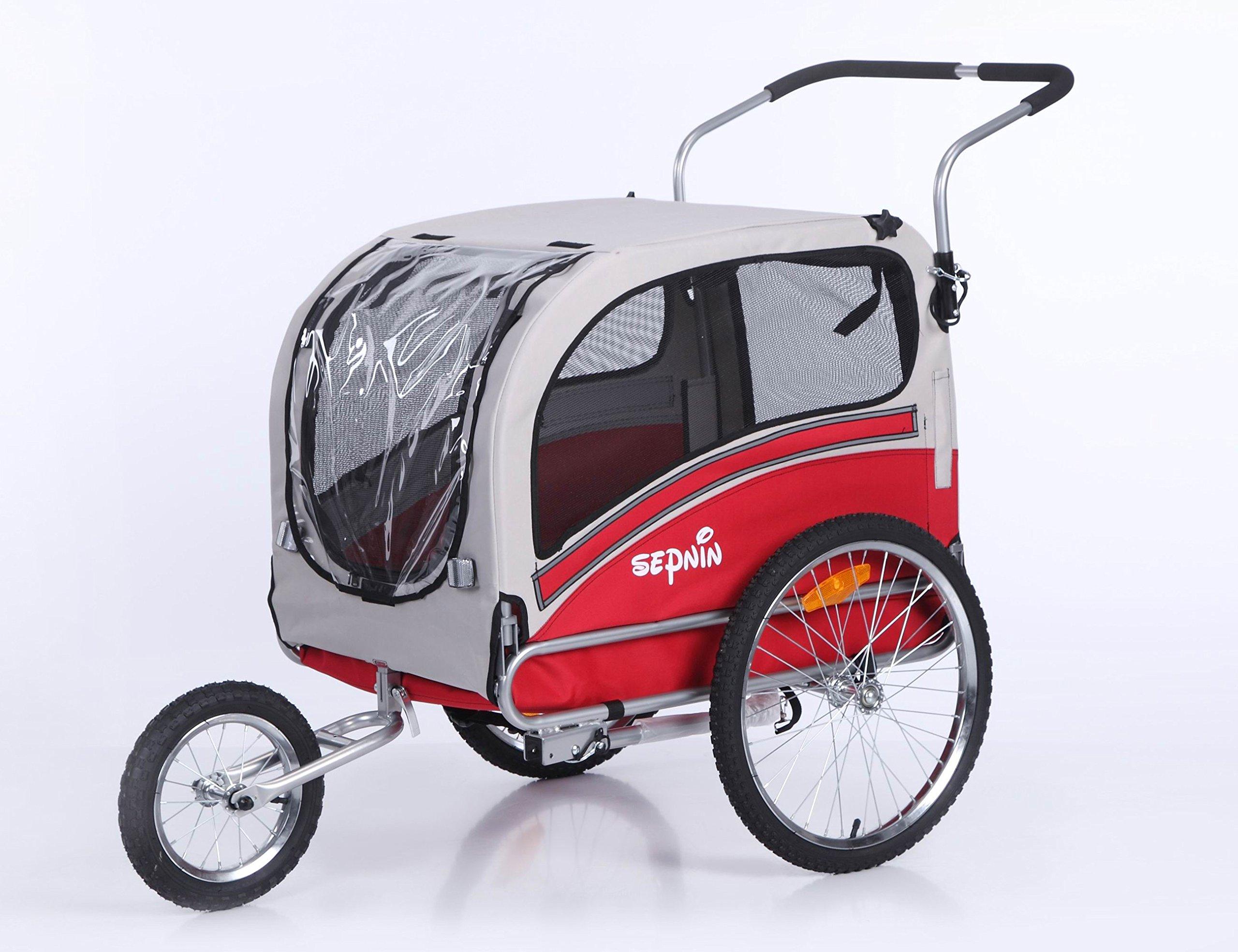 Sepnine Pet Dog Bike Trailer, Red/Grey