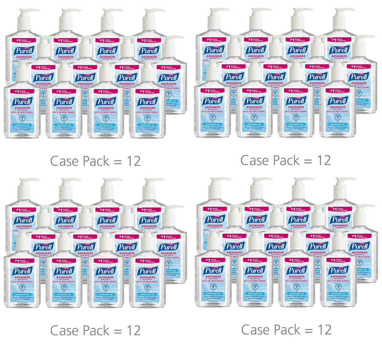 PURELL 9652 Advanced Instant Hand Sanitizer, 8 Ounce Pump Bottle (Pack of 48)