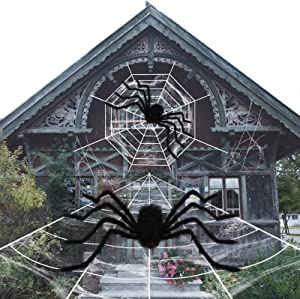RUNDA Halloween Decorations, 2 Scary Spiders and 2 Giant Spider Web with Super Stretch Cobweb, Used for Doors, Indoor and Outdoor Halloween Decor Yard Home Costume Party Haunted