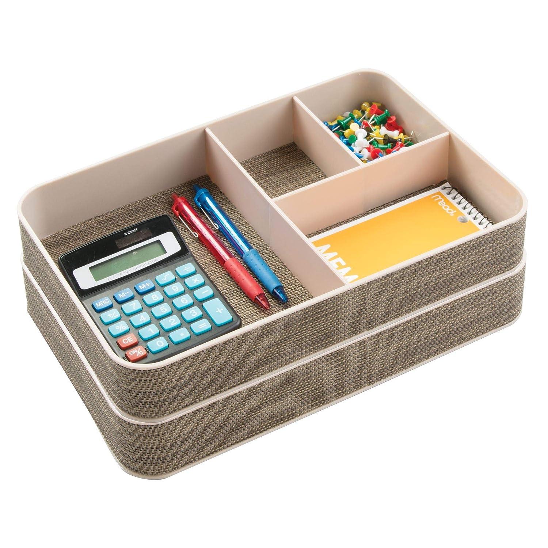 ottimo per lufficio mDesign portaoggetti ideale per la scrivania colore crema con 4 sezioni