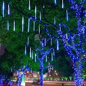 Aukora Rain Drop Lights, LED Falling Rain Lights with 11.8 inch 8 Tubes 144 led, Outdoor Icicle Snow Meteor Shower Lights for Xmas Wedding Party Holiday Garden Decoration(UL Listed Plug, Blue)