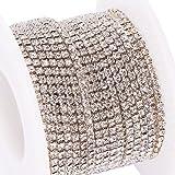BENECREAT 10 Yard Crystal Strass Fermer la chaîne Effacer la coupe Griffe chaîne couture Craft environ 2880 pcs strass, 2mm - argent (fond argenté)