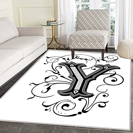 Amazon.com: Letter Y Anti Skid Area Rug Calligraphy Inspired
