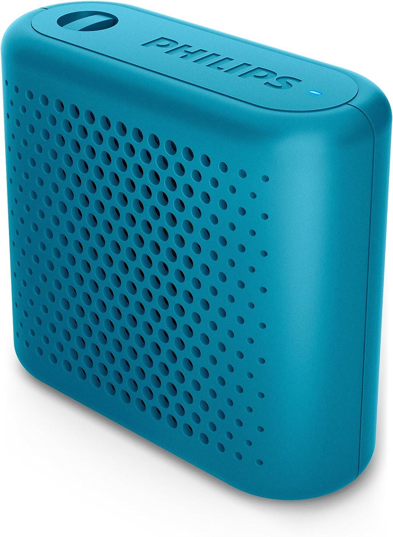 Philips BT55A - Mini Altavoz Bluetooth inalámbrico portatil, Compatible con Smartphones, iPhone, Android y Tablet, Azul
