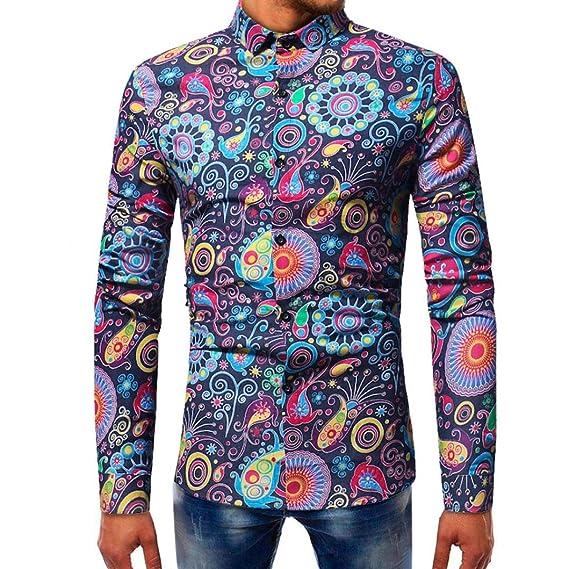 Resplend Blusa Estampada de Moda para Hombre Camisas de Manga Larga Casual Slim Tops: Amazon.es: Ropa y accesorios