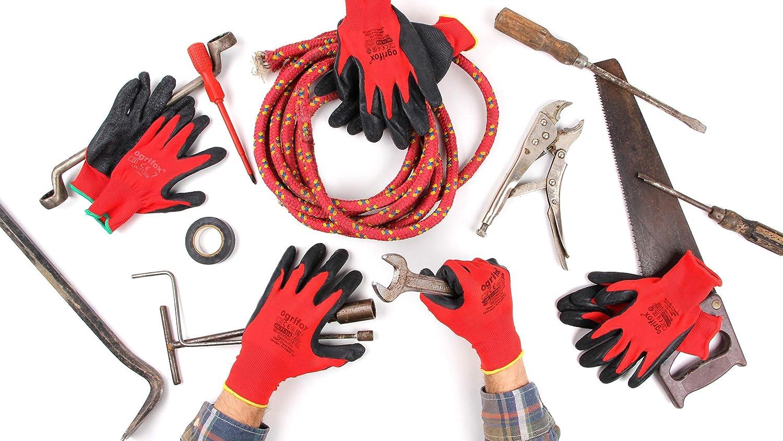 S-7, Rot 24 Paar Ogrifox Latex-besichtet Arbeitshandschuhe mit FUZZIO Handschuh-Klammern