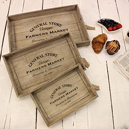 General Store Set of 3 Wooden Trays Farmers Market Vintage Breakfast Lunch Gift