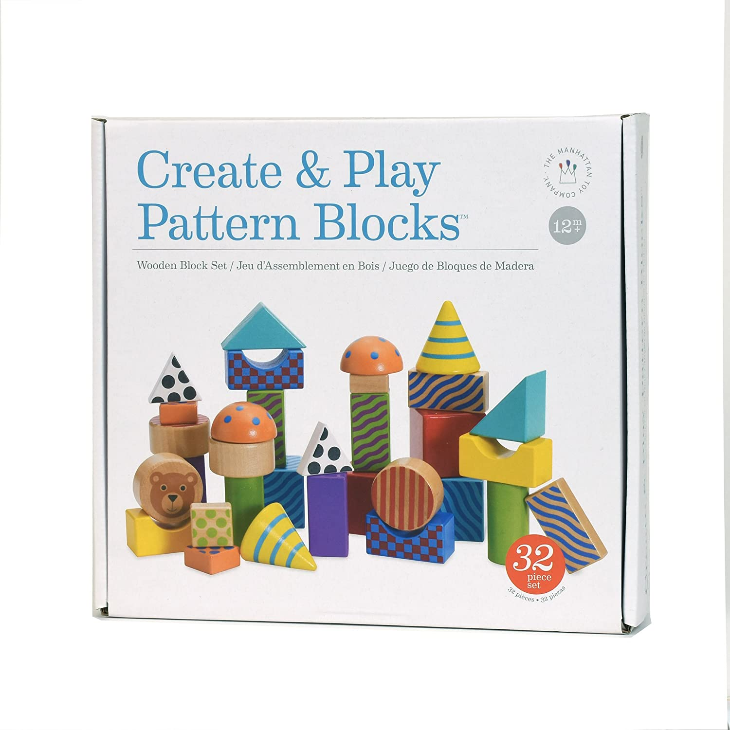 Manhattan Toy Stack and Pull 24-Piece Wooden Blocks Train For 12 Months and Up