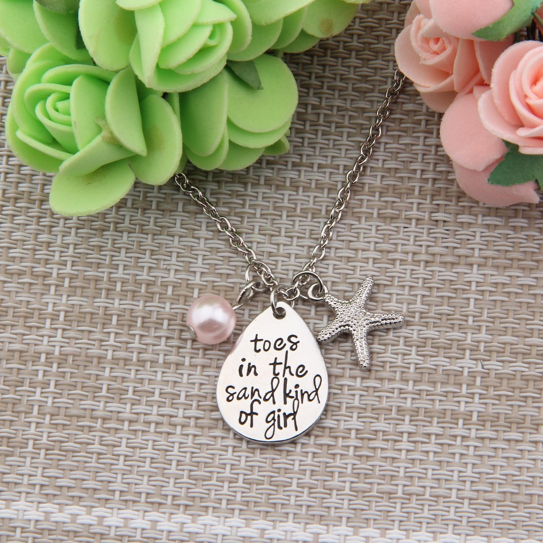 ENSIANTH Toes In The Sand Kind of Girl Engraved Charms Necklace Beach Jewelry with Starfish (waterdrop necklace) by ENSIANTH (Image #4)