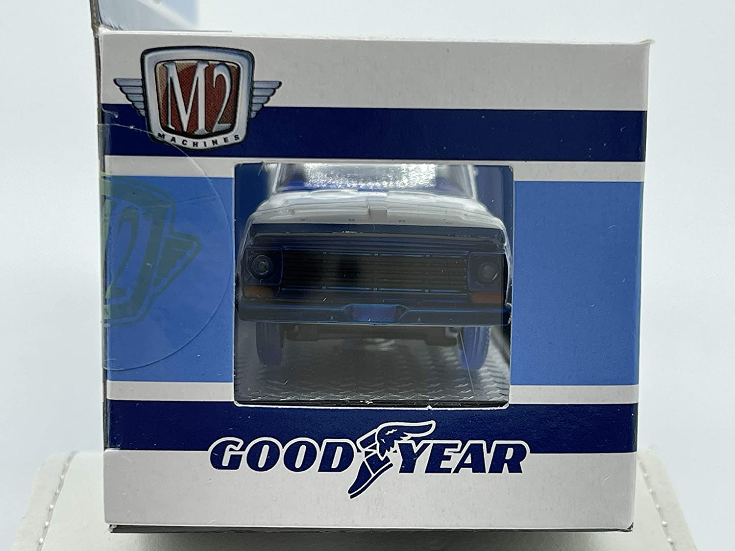 M2 Machines by M2 Collectible 1 of 750 Worldwide Chase Car with Gold or Special Wheels /& Unique Design Good Year 1967 Ford F-100 Custom Cab 1:64 Scale WMTS09 19-09 White//Blue