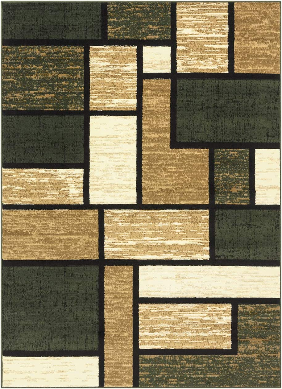 Princess Collection Geometric Swirl Abstract Area Rug, 5 2 x 7 2 , 809 Cream Green