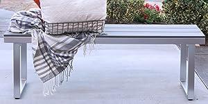 """WE Furniture AZAW4BSGY Outdoor Bench, 50"""", Grey"""