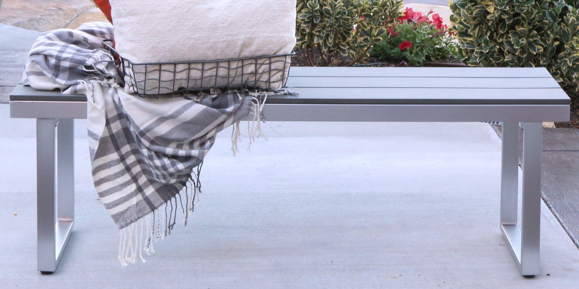 WE Furniture AZAW4BSGY Outdoor Bench, 50'', Grey