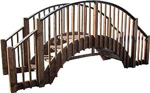 SamsGazebos 8' Japanese Wood Garden Bridge with 4 Extended Railings, Treated