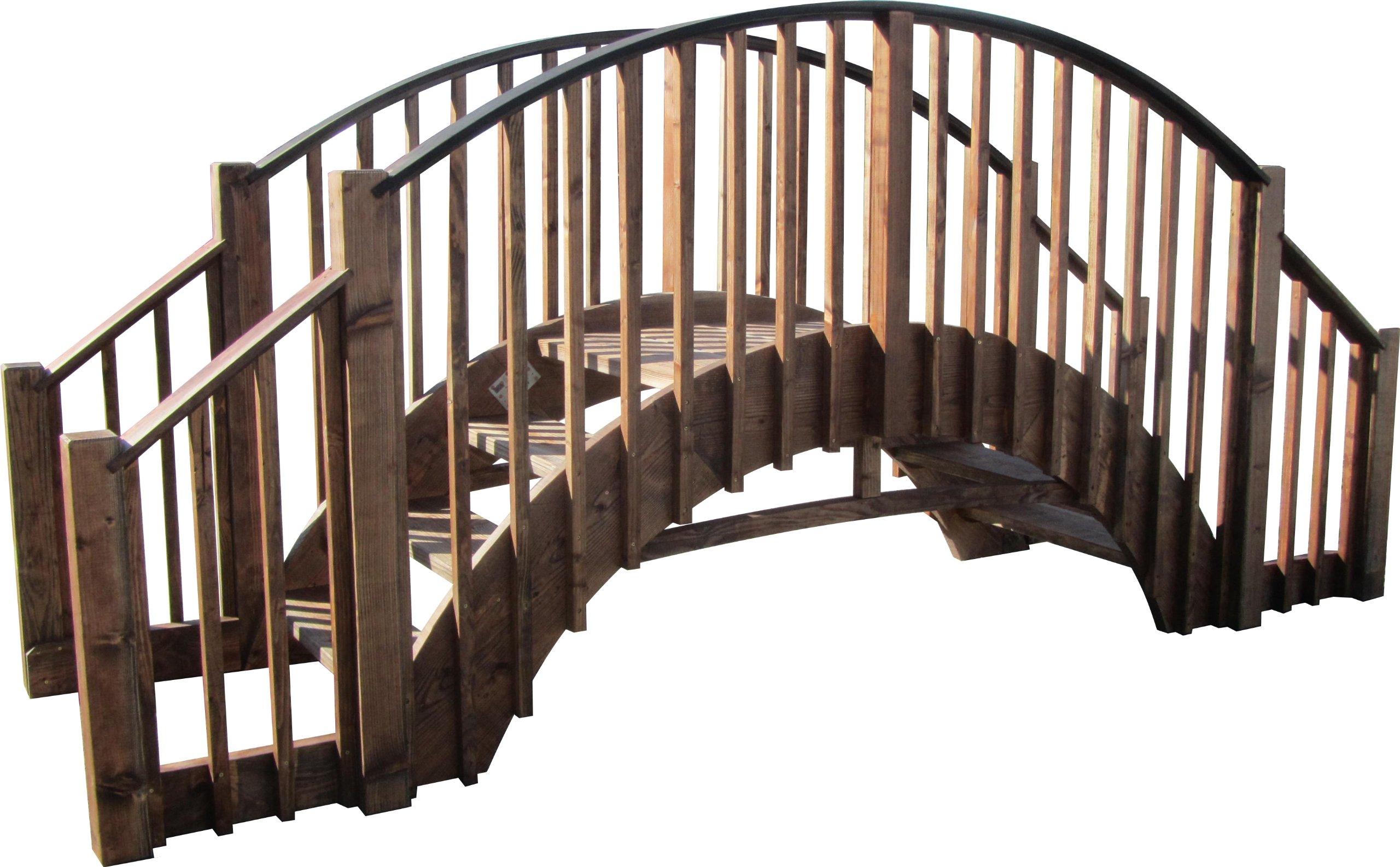 SamsGazebos 8' Japanese Wood Garden Bridge with 4 Extended Railings, Treated by SamsGazebosTM