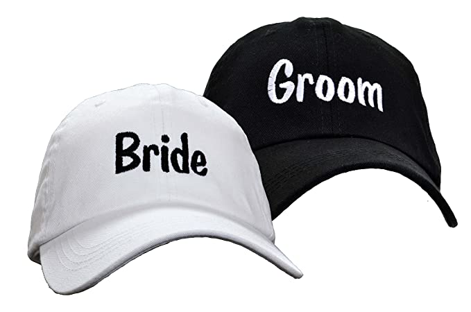 61823a6136b Amazon.com  Bride Groom Embroidered Wedding Caps Hat Set  Clothing