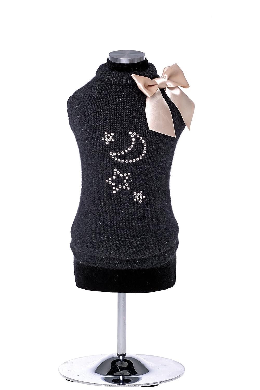 Black XXS Black XXS Trilly tutti Brilli Melania Angora Wool Jumper for Dog, 2X-Small, Black