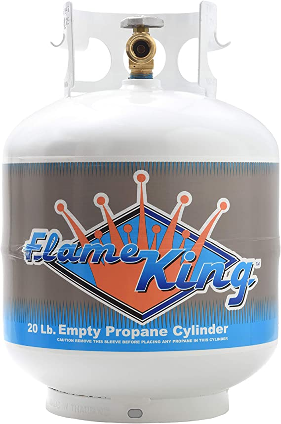 Flame King YSN201a 20 Pound Steel Propane Tank Cylinder with Type 1 Overflow Protection Device Valve for Grills and BBQs